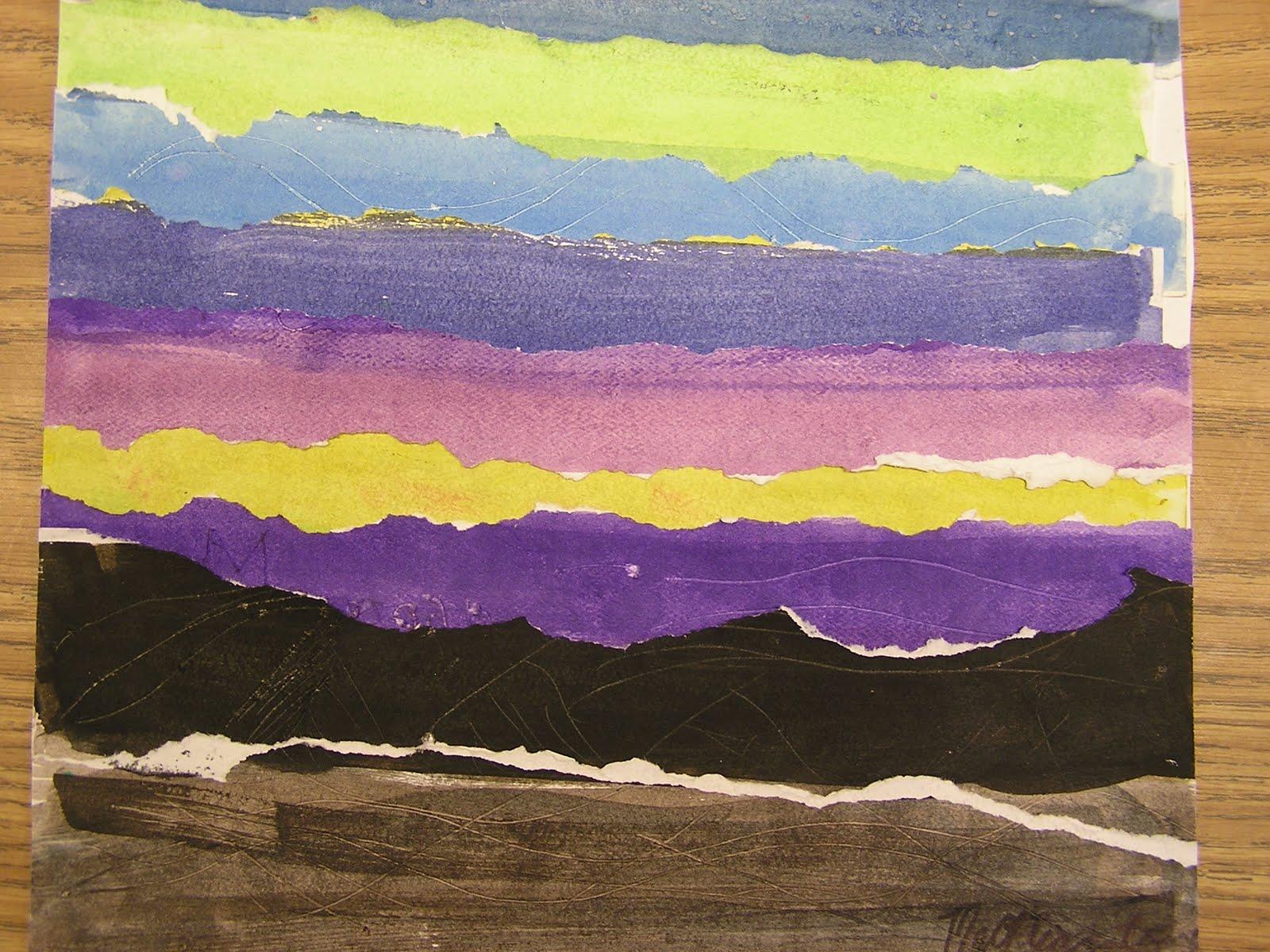P c k art room sixth grade watercolor landscape collage for Different watercolor techniques