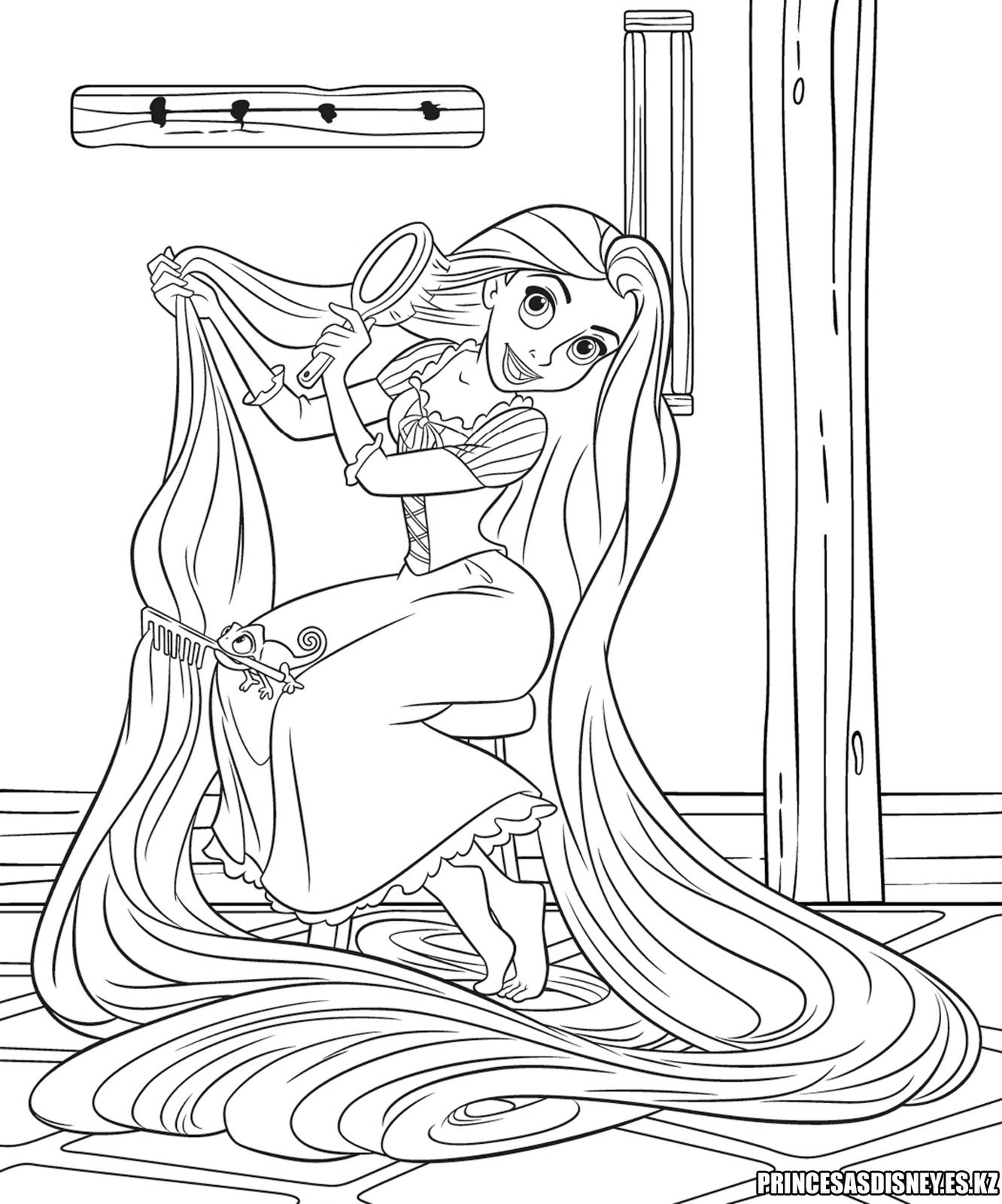 Dibujo para colorear de rapunzel enredados