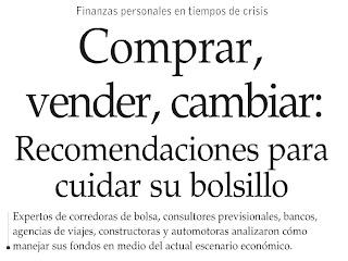 lea usted las recomendaciones y sugerencias de los EXPERTOS frente a la crisis, El Mercurio - Economía y Negocios Octubre 12 de 2008