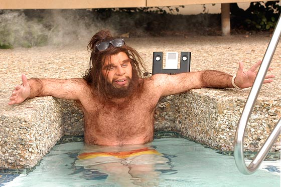 Caveman in hot tub