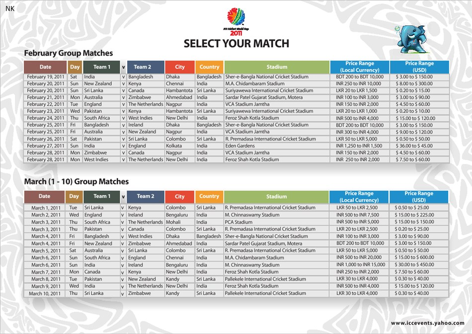 """... Results for """"Icc World Cup Timetable Download"""" – Calendar 2015"""