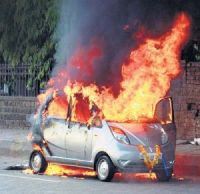 Tata Nano on fire
