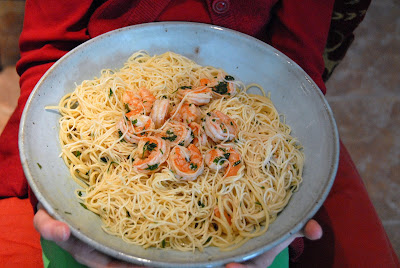 Shrimp & Capellini in Bowl by Ted Whittemore