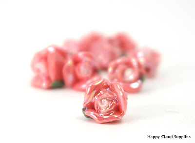 Little Unique Iridescent Pink Polymer Clay Rose Beads