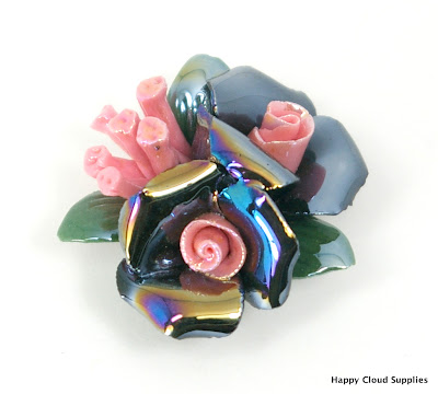 Unique Iridescent Black Roses Polymer Clay Bouquet Bead