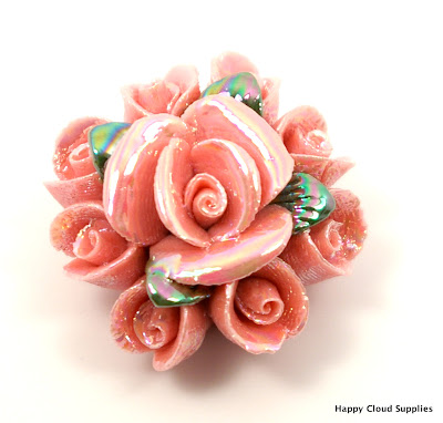Unique Iridescent Pink Rose Polymer Clay Bouquet Bead