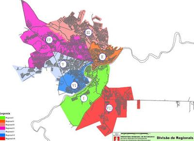 Mapa da Divisao Regional de Rio Branco Acre