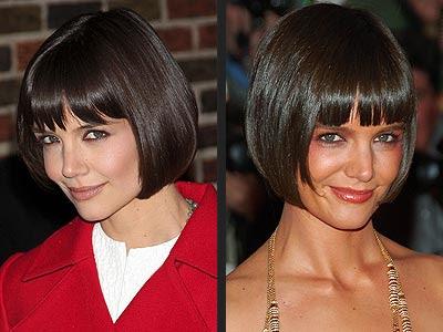 katie holmes bob haircut. katie holmes short ob hair