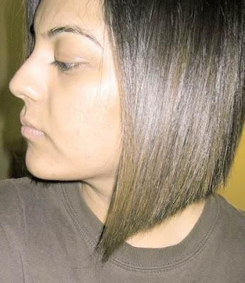 Short angle bob hairstyles perfect for people with thicker hair.
