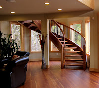 handmade stair case, wood staircase, roundhouse stair case