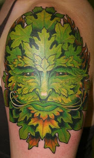 Leaf Tattoo With Face Style