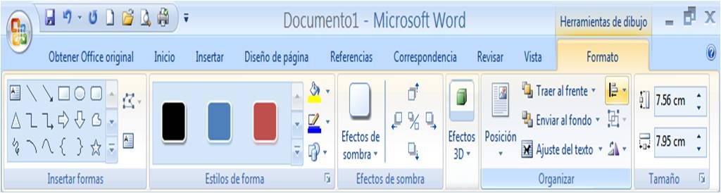Men herramientas de dibujo de Word 2007