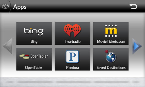 Screenshot of Toyota Entune featuring Bing, Pandora, iHeartRadio, MovieTickets.com and OpenTable