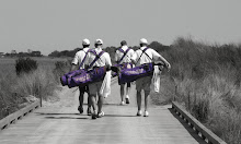 I love to get pics on practice round days.  All those purple bags together, sweet!