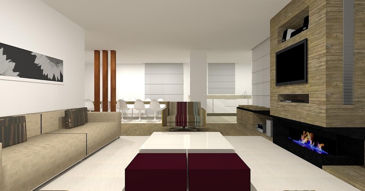 Sala De Estar Junto Con Sala De Tv ~ Romaine Leite Salas de Estar, TV e Jantar