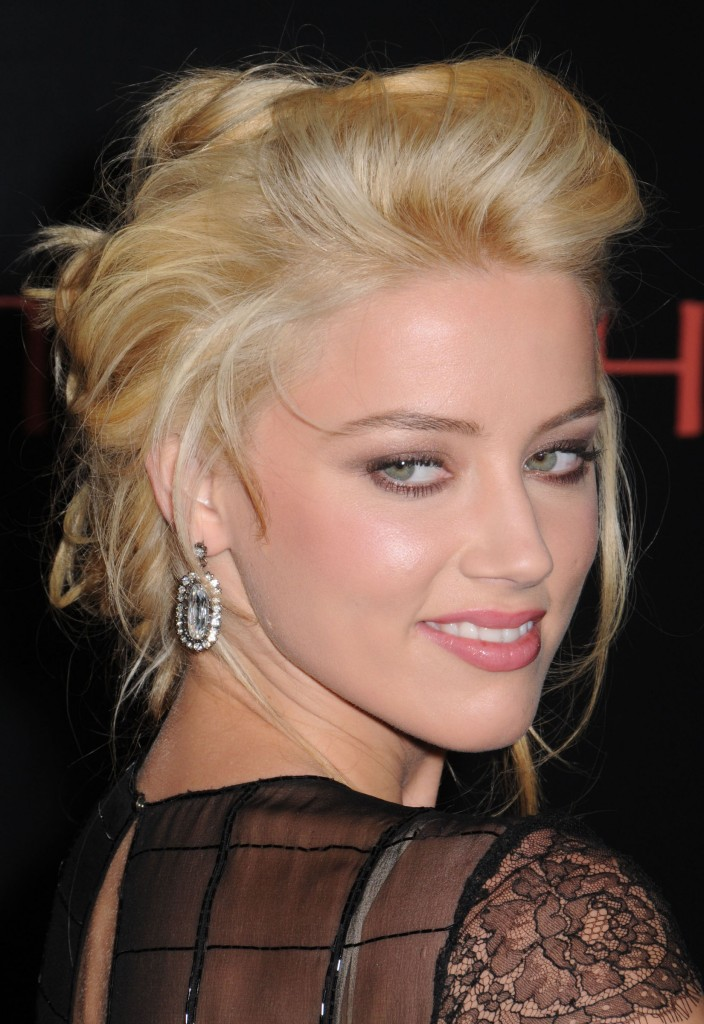 side buns hairstyles. amber heard