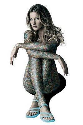 Beautiful Celebrity Body Painting - Gisele Bundchen