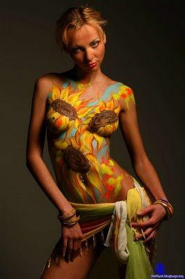 Sun Flower Body Painting