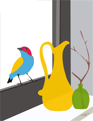 bird and vase art