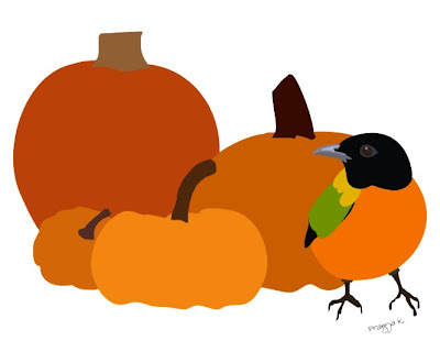 Man Friday goes pumpkin picking , bird art of the day