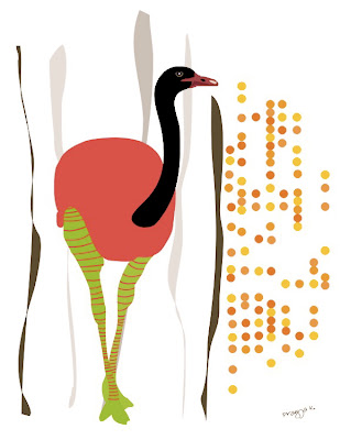 , Wooly reverie, ostrich art , bird art of the day