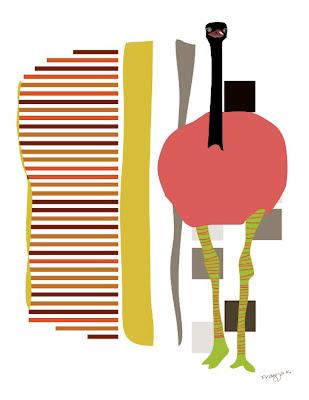 , Wooly reverie, ostrich art , bird art of the day