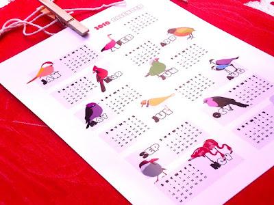 , 2010 calendar, bird art , 2010 ArtOcrat calendar