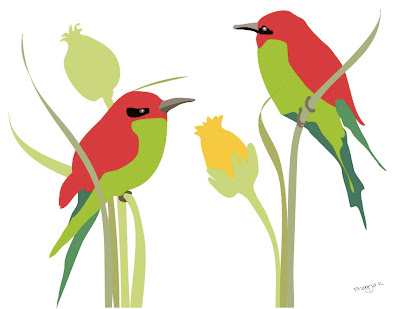 Bird art of the day, Bird and bloom, bird art