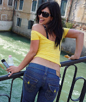 Denise Milani in Yellow Top and Blue Jeans