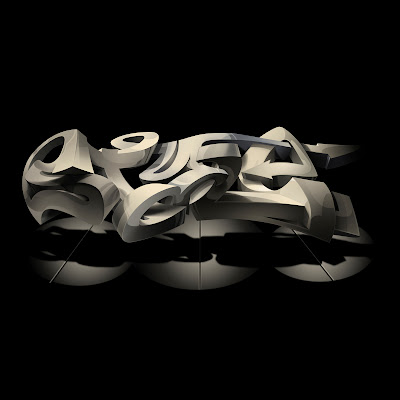 Digital 3D Arrow Graffiti Alphabet Black Style
