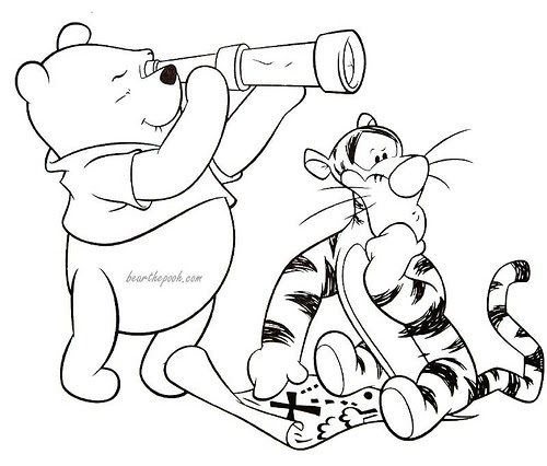 Disney coloring pages winnie the pooh treasure hunting for Pooh bear and tigger coloring pages
