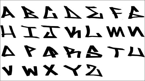 Graffiti fonts styles of writing alphabets