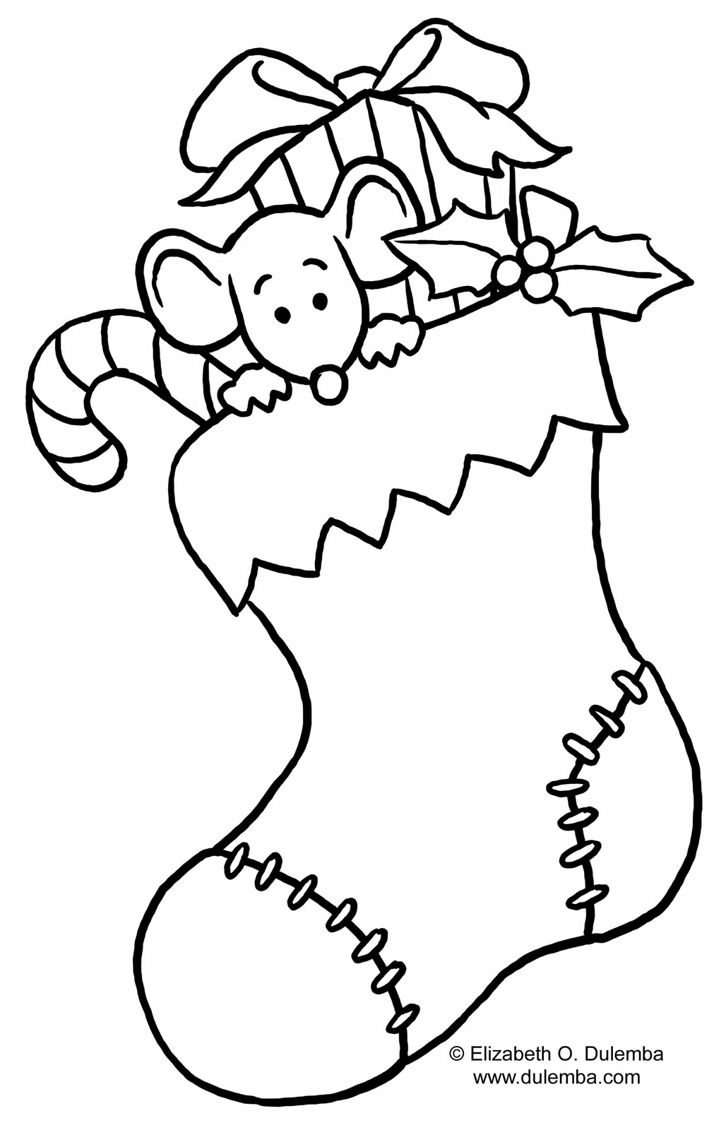 Christmas Puppy Coloring Page Stocking