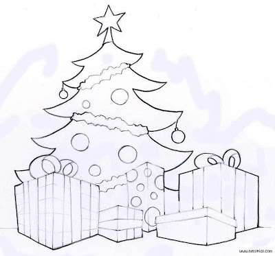 Merry Christmas Tree and Gift presents coloring pages. PRINT THIS PAGE