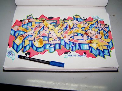 An Example Of Wildstyle Graffiti Alphabet Design Sketch On Paper