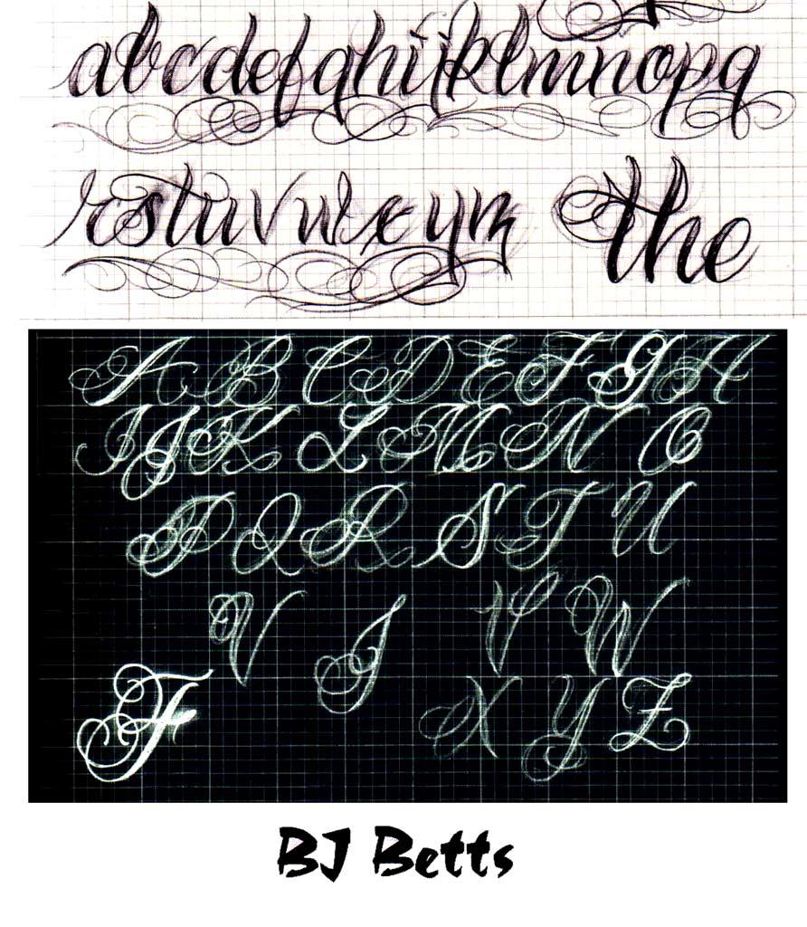 Gangster Cursive Tattoo Gangster tagging alphabet