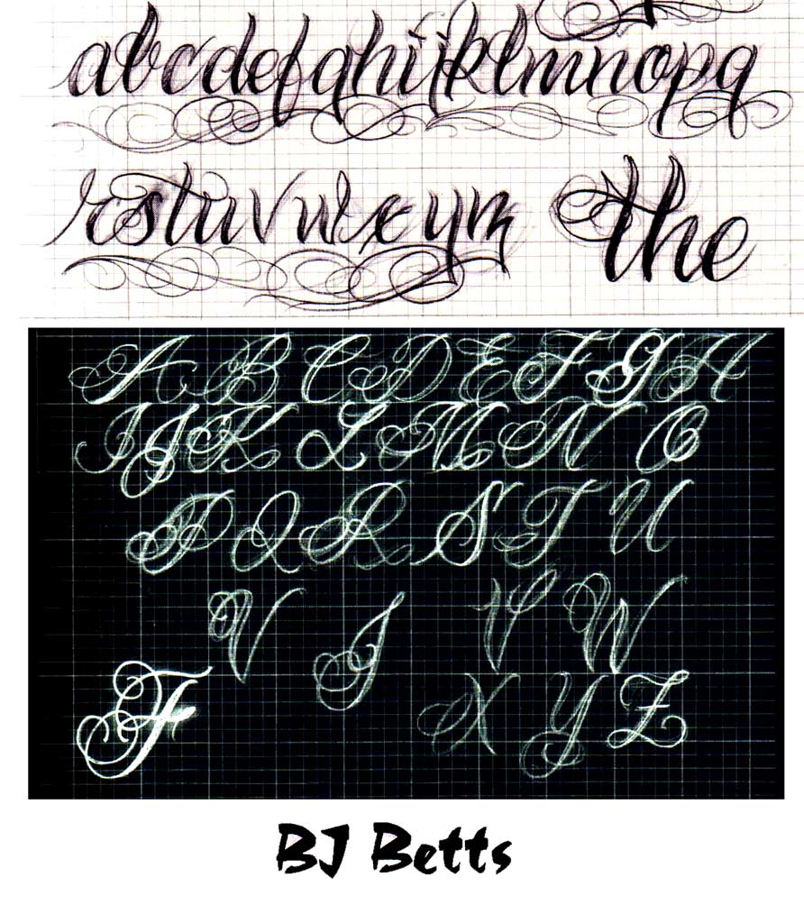Graffiti Alphabet BJ Betts Letters A Z With 2 Motiv Design Black And White