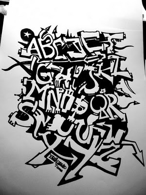 Sketch Black Books Graffiti Alphabet : Letters 'A-Z' on Paper