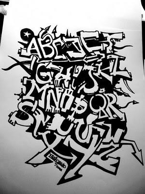 el abecedario en graffiti. Sketch Black Books Graffiti