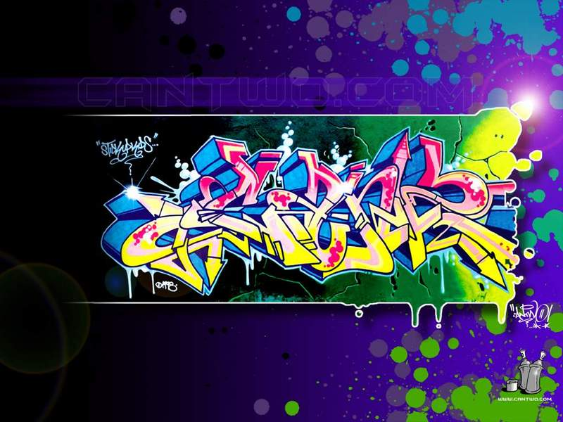 cool graffiti wallpapers. Colourful MySpace Graffiti