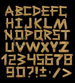Graffiti Alphabet : Letters A  Z From Wooden Boards With Rivets
