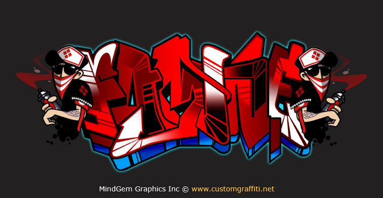 Graffiti Letters Famine HIP HOP Wirh 3D Effect And Red Color
