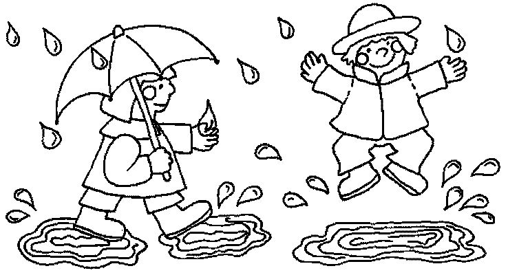 lovetheprimlook2 Playing in the Rain Kids Coloring Pages