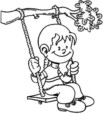 Tree Swing Kids Coloring Pages