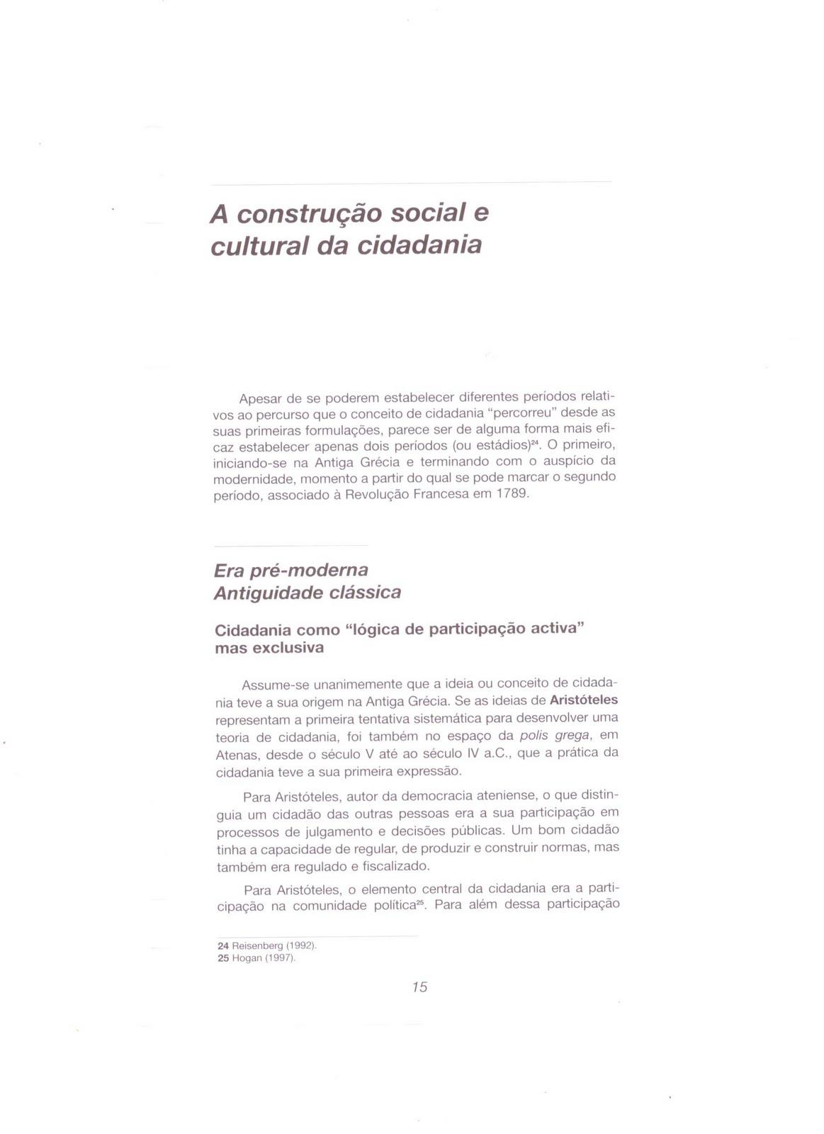 A construção social e cultural da cidadania - 10º ano