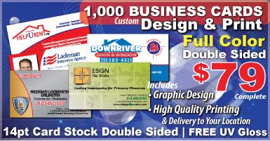 Downriver design print advertising business cards postcards best deal in all downriver michigan 1000 full color double sided business cards custom graphic design included we come to you with our prompt door colourmoves