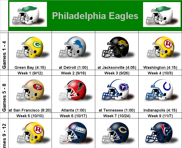Canny image throughout philadelphia eagles printable schedule