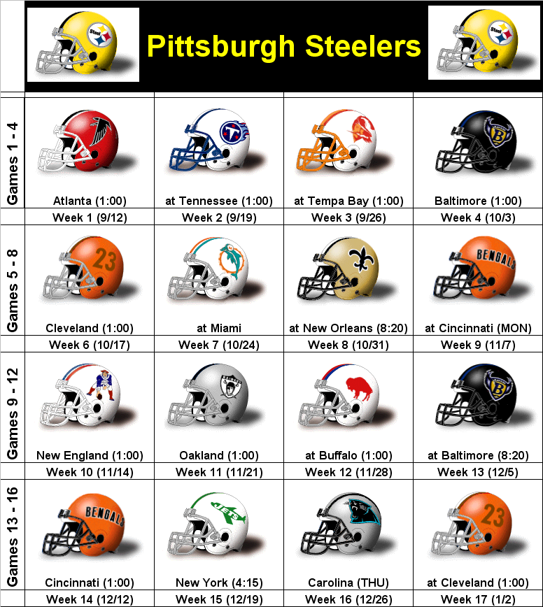 2010 Pittsburgh Steelers Printable Helmet Schedule