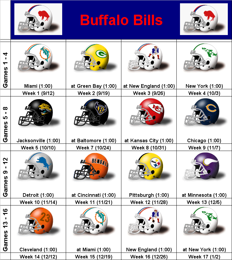It's just a graphic of Rare Buffalo Bills Schedule Printable