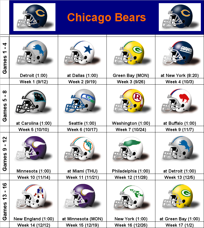 Remarkable image with chicago bears printable schedule